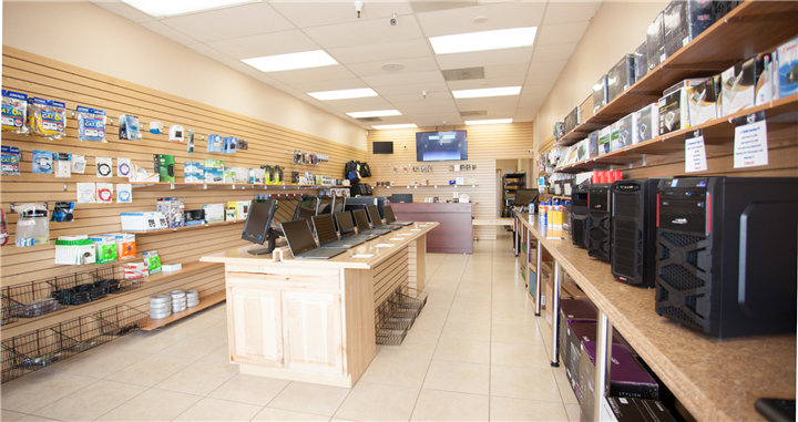046 Slatwall Decoration Small Personal Computer Store Design Custom Mobile Cell Phone Shop Interior Design